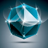 Vector stylish illustration, shiny sapphire effect, eps10. Party. 3D azure sparkling ball Royalty Free Stock Photos