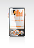 Vector stylish player with orange interface Royalty Free Stock Photos