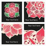 Vector stylish posters with flowers in tattoo Stock Image