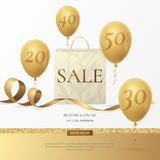 Vector stylish sale poster with a paper shopping bag, golden ribbon and balloons. Stylish sale poster with a paper shopping bag, golden ribbon and balloons Royalty Free Stock Photo