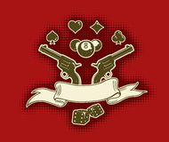 Vector stylish wallpaper with guns and ribbon Royalty Free Stock Photo