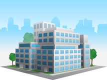 Vector stylized altered generic corporate modern office building stock illustration