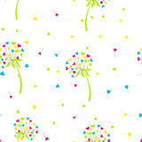 Vector stylized background dandelion in the form of hearts. The flower symbolizes love, friendship and acceptance Royalty Free Stock Photo