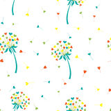 Vector stylized background dandelion in the form of hearts. The flower symbolizes love, friendship and acceptance. Vector illustration of a stylized dandelion Stock Image
