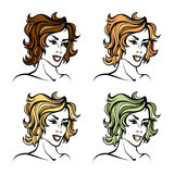 Vector stylized cartoon pretty fashion girl set with short curly hair  on white Royalty Free Stock Image