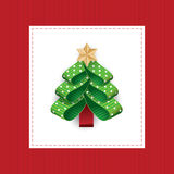 Vector stylized Christmas tree from dotted ribbons. Royalty Free Stock Photos