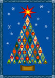 Vector stylized Christmas tree with presents Royalty Free Stock Image