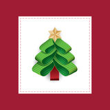 Vector stylized Christmas tree from ribbons Stock Photography