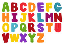Vector of stylized colorful font and alphabet Royalty Free Stock Photo