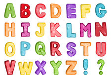 Vector of stylized colorful font and alphabet Stock Photos