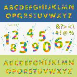Vector of stylized colorful font and alphabet. The spring palette. Capital letters and numbers Stock Photography