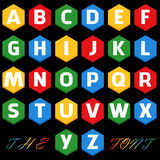 Vector of stylized colorful font and alphabet royalty free illustration