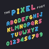 Vector of stylized colorful pixel font and alphabet. Cool illustration Royalty Free Stock Images