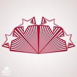 Vector stylized design element, celebrative perspective pentagon. Al stars web emblem. Union idea  – eps8 3d heraldic object. Festive aristocratic symbol Royalty Free Stock Photos