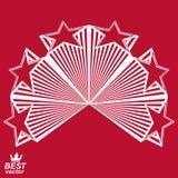 Vector stylized design element, celebrative perspective pentagon. Al stars web emblem. Union idea  – eps8 3d heraldic object. Festive aristocratic symbol Stock Photo