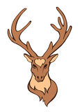Vector stylized flat forest vintage color deer head isolated on white Royalty Free Stock Image
