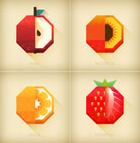 Vector stylized fruits set in vintage design. Flat summer fruit icon. Fun colorful card or picture for juice,menu, shirt Royalty Free Stock Photography