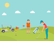 Vector stylized golf field hobby equipment collection cart golfer player sport symbols Royalty Free Stock Photography