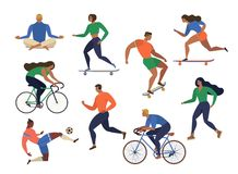 Vector stylized illustration active young people. Healthy lifestyle. Roller skates, running, bicycle, run, walk, yoga. Design elem Stock Photo