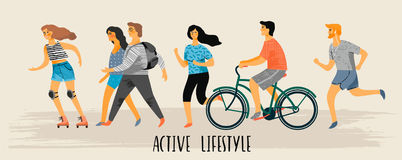 Vector stylized illustration of active young people. Healthy lifestyle. Stock Photo