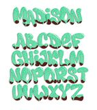 Vector of stylized melted font and alphabet , liquid font style. Vector of stylized melted font and alphabet , liquid font style Stock Image