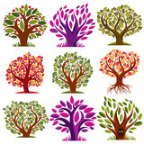 Vector stylized nature symbols, art fruity trees collection. Gar Royalty Free Stock Photos