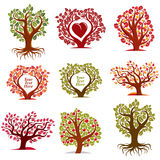 Vector stylized nature symbols with red heart, art fruity trees. Collection. Gardening idea design elements, fruitfulness theme. Empty copy space, you are free Stock Images