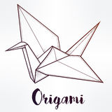 Vector stylized paper crane. Stock Images