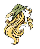 Vector stylized portrait of cartoon pretty fashion blondie girl with long hair in hat . Linear illustration. Stock Photos