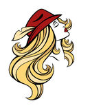 Vector stylized portrait of cartoon pretty fashion blondie girl with long hair in red hat isolated on white. Linear illustration. Stock Photography