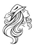Vector stylized portrait of cartoon pretty fashion girl with long hair in hat isolated on white. Linear illustration. Royalty Free Stock Photo