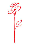 Vector stylized red rose Royalty Free Stock Image