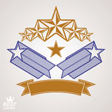Vector stylized royal symbol. Aristocratic graphic emblem with f. Ive pentagonal stars and wavy band, celebrative eps8 template. Corporate brand icon, award Royalty Free Stock Photo