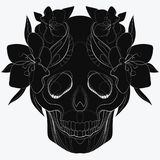 Vector stylized skull. Human skull with ornaments. Linear Art. Tattoo. Vector stylized skull. Human skull with ornaments. Linear Art Royalty Free Stock Images