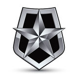 Vector stylized symbol isolated on white background.  Glamorous. Pentagonal silver star, clear EPS 8, silvery symbolic insignia, aristocratic blazon Stock Images