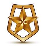 Vector stylized symbol  on white background.  Glamorous. Pentagonal golden star, symbolic insignia, aristocratic blazon Royalty Free Stock Photography