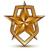 Vector stylized symbol  on white background.  Glamorous. Pentagonal golden star, symbolic insignia, aristocratic blazon Stock Photography