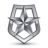 Vector stylized symbol  on white background.  Glamorous. Pentagonal silver star, clear EPS 8, silvery symbolic insignia, aristocratic blazon Royalty Free Stock Images