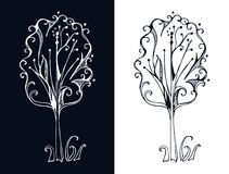 Vector stylized tree on black and on white background. Royalty Free Stock Photo