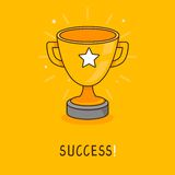 Vector success concept in flat style. Business leader concept - golden bowl icon Royalty Free Stock Image