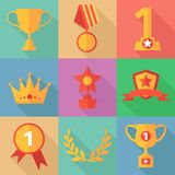 Vector success concept icons in flat design style, vector illustration Royalty Free Stock Image
