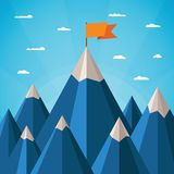 Vector success concept with mountain landscape Royalty Free Stock Images