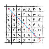 Vector success drawing word find crossword Royalty Free Stock Photos