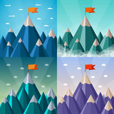 Vector success and leadership concepts set with mountain landscape Royalty Free Stock Photos