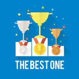 Vector success win concept with cups, podium, medals and confetti. Modern icon illustrations in flat style Royalty Free Stock Photos