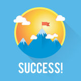 Vector success and win concept. Flag on the mountain peak. Stock Photo