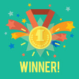 Vector success win concept with gold medal and fireworks. Royalty Free Stock Image