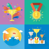 Vector success and win concepts. Modern icons and illustrations in flat style stock illustration