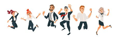 Vector successful business man, woman jumping set. Successful business office men and women jumping set. Characters in office corporate clothing, tuxedo. Vector vector illustration
