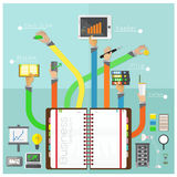 Vector Successful teamwork office equipment on blue backgrou Stock Images